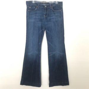 7FAM | DOJO Flip Flop Dark Denim Flare Jeans 30